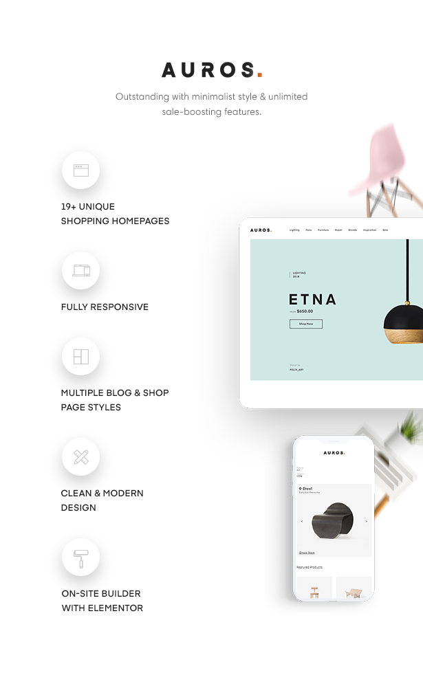 Auros Modern & Minimal Furniture WordPress Shopping Theme