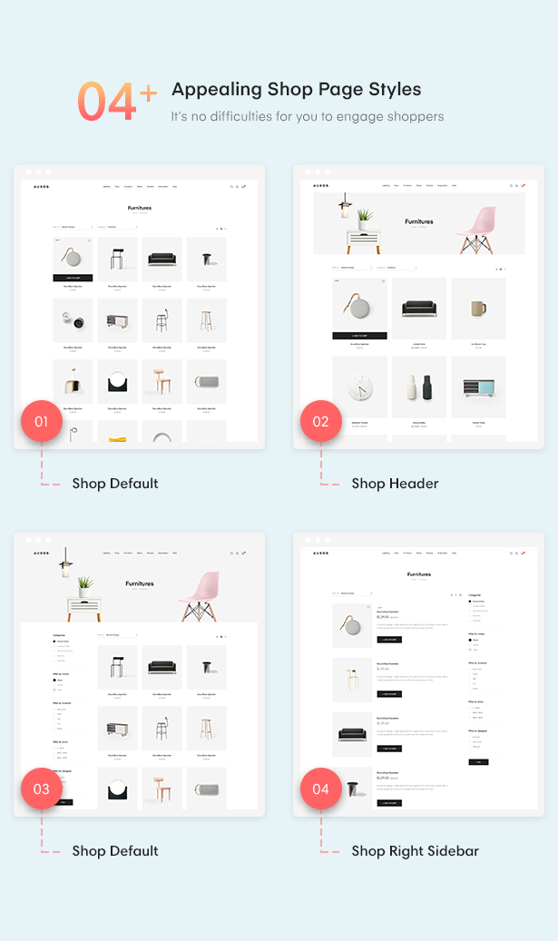19+ 04+ Appealing Shop Page Styles of Auros Furniture Elementor WooCommerce Theme