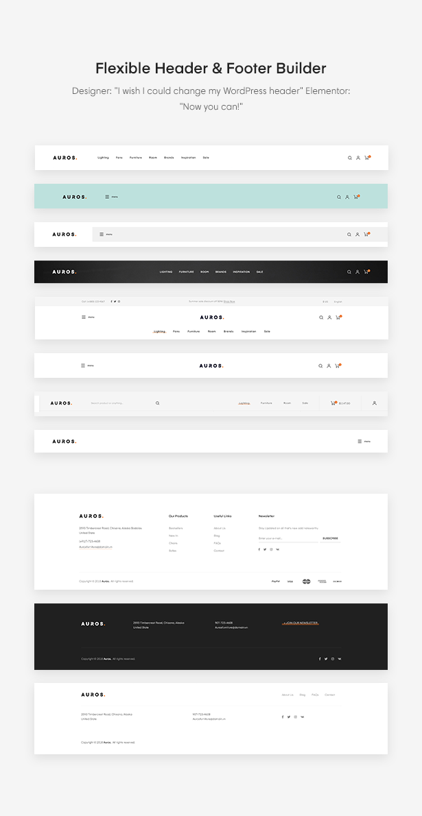 Flexible Header & Footer Builder of Auros Furniture Elementor WooCommerce Theme
