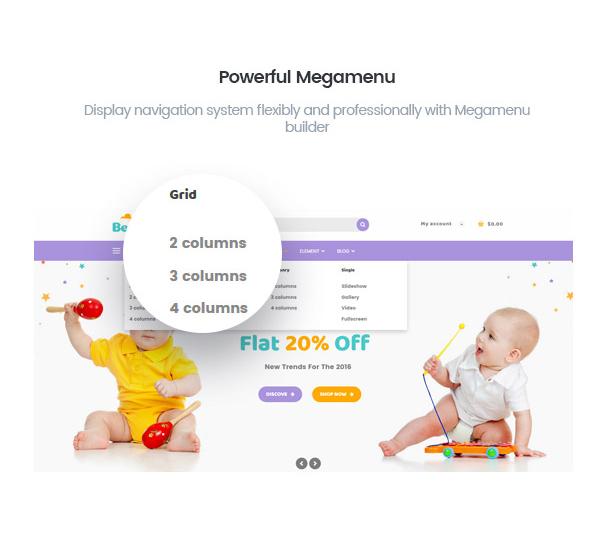 BerryKid baby store WordPress theme with powerful mega menu