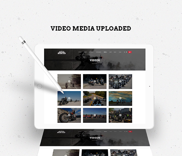 upload video media in Bikersclub Motorcycle WordPress Theme