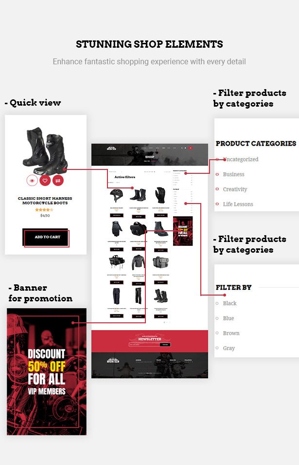 Great shopping elements in Bikersclub Motorcycle club WooCommerce WordPress theme