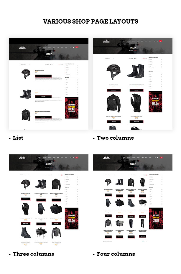 Multiple shop page layouts in Bikersclub Motorcycle club WooCommerce WordPress theme