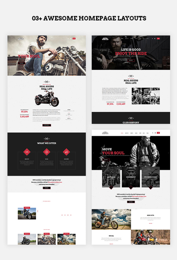 multiple homepage layouts of Bikersclub Motorcycle WordPress Theme