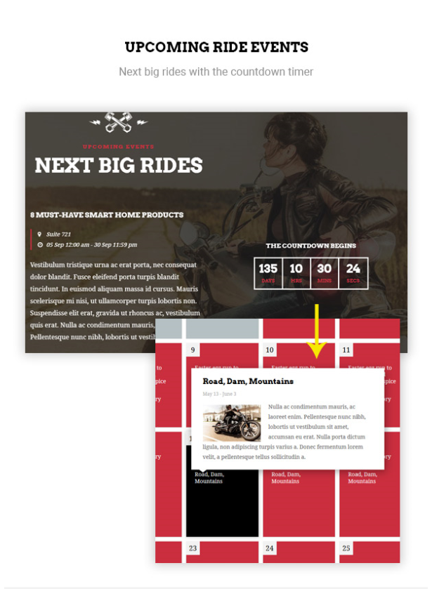 upcoming rides in Bikersclub Motorcycle WordPress Theme