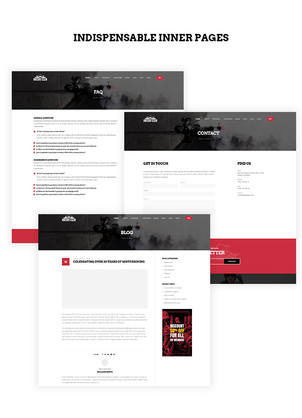 Multiple functional pages in Bikersclub MotorBike WordPress theme
