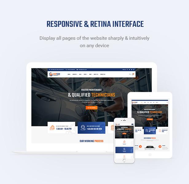 Retina Ready & Mobile Optimization - Carsao - Car Service & Auto Mechanic WordPress Theme