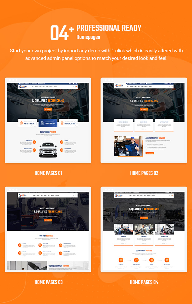 04+ Professional Homepage Layouts - Carsao - Car Service & Auto Mechanic WordPress Theme