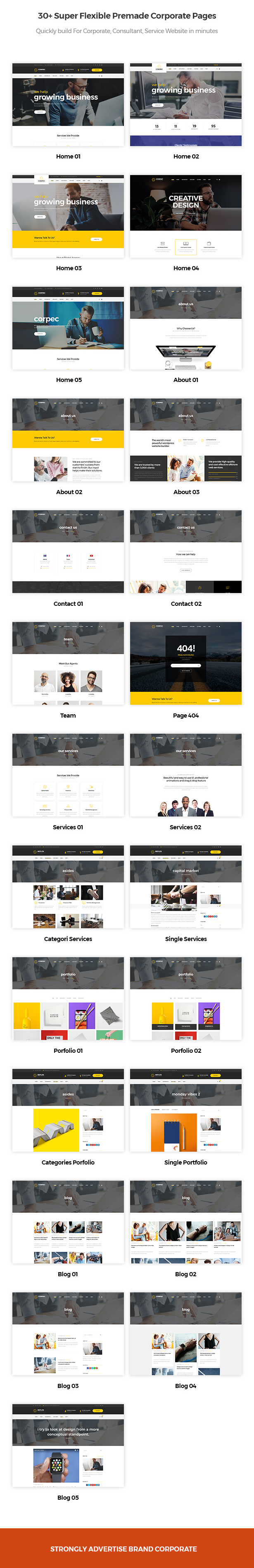 30+ super flexible premade corporate pages in Corpec Corporate WordPress Theme