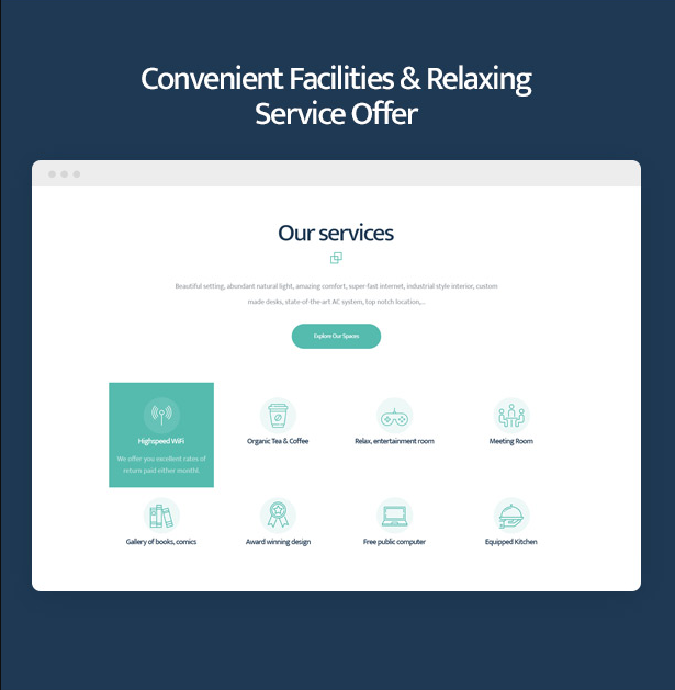 Coworkshop Coworking Space WordPress Theme with convenient facilities & relaxing office offer