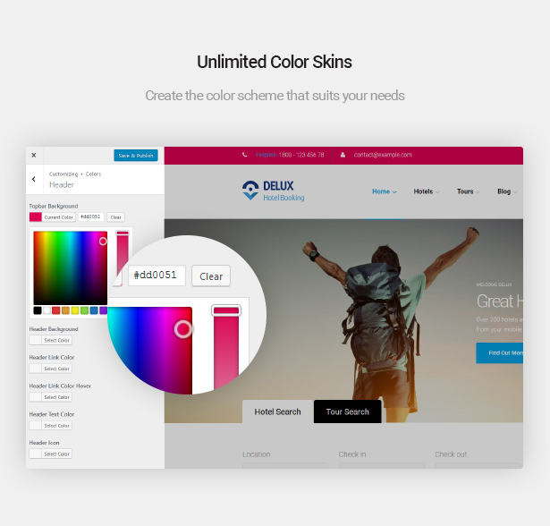 Unlimited color skins of Delux online Hotel Booking WordPress Theme