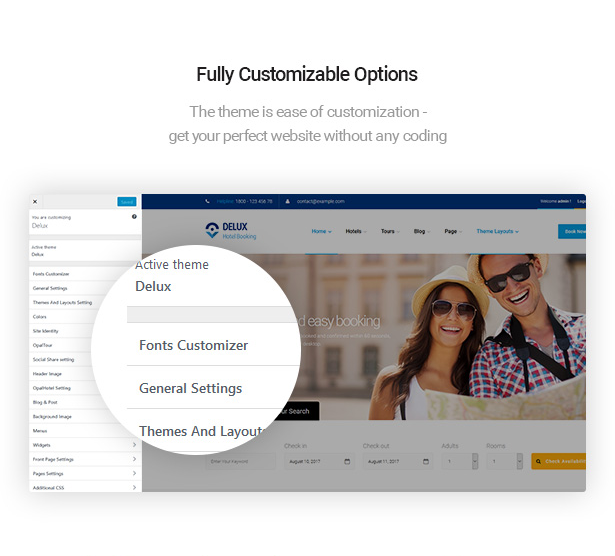 customize Delux online Hotel Booking WordPress Theme with ease