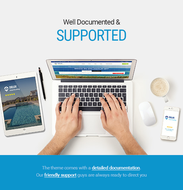 well documented and supported Delux online Hotel Booking WordPress Theme