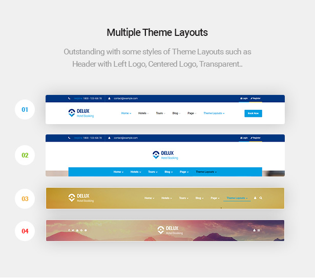 multiple header theme layouts of Delux online Hotel Booking WordPress Theme
