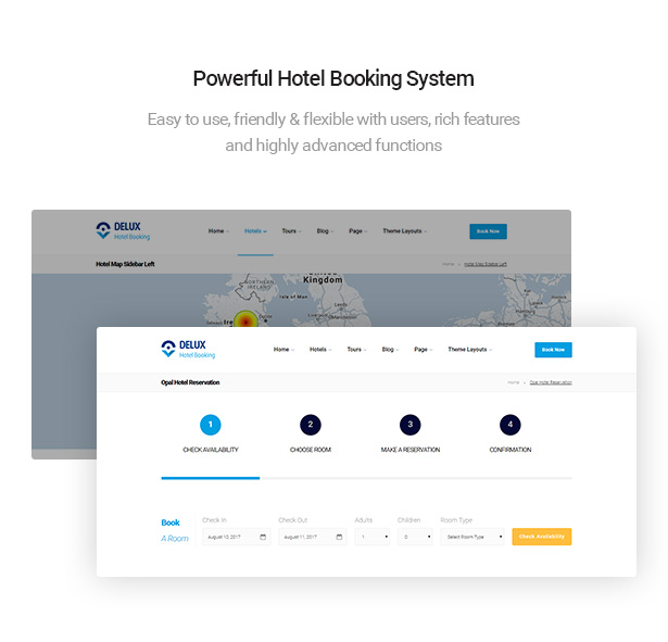 powerful hotel booking system of Delux online Hotel Booking WordPress Theme