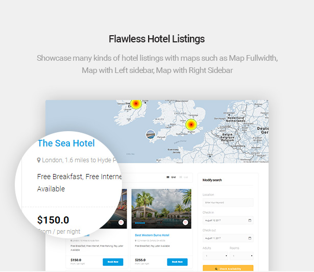 flawless hotel listings of Delux online Hotel Booking WordPress Theme
