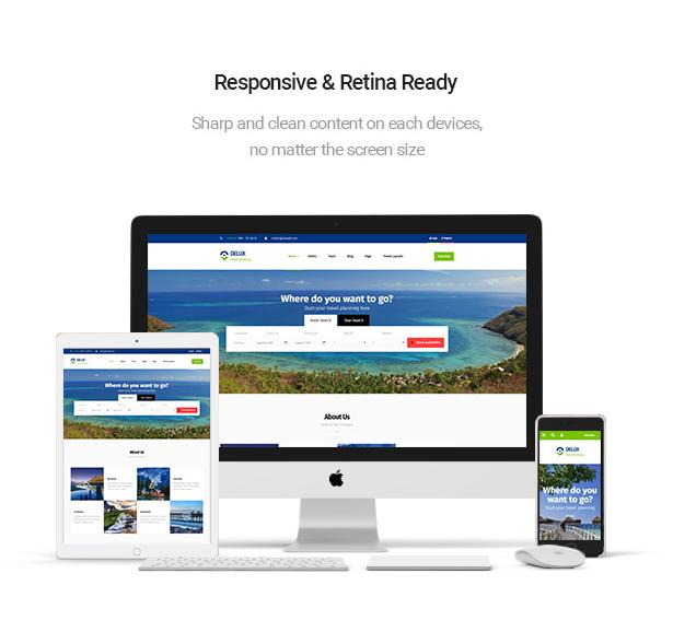 responsive & retina ready Delux online Hotel Booking WordPress Theme
