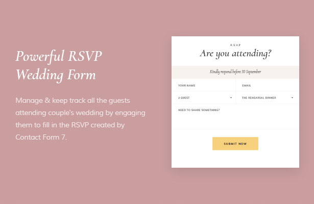 Powerful RSVP Wedding Form Dreama Engagement & Wedding Planner WordPress Theme