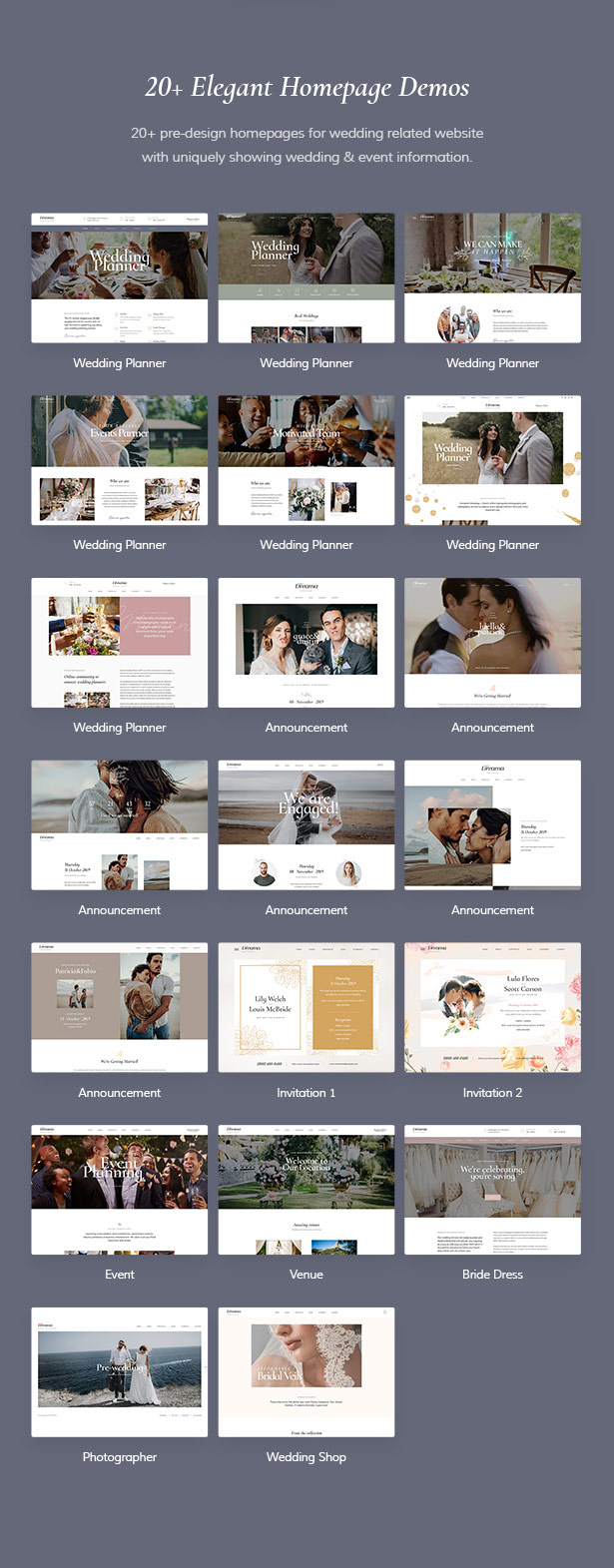 20+ Homepage Demos Dreama Responsive Engagement & Wedding Planner WordPress Theme