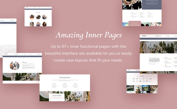 Powerful Inner Pages Dreama Responsive Engagement & Wedding Planner WordPress Theme
