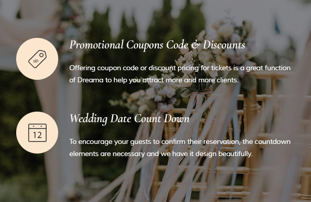 Coupon Code & Discount and Wedding Countdown Dreama Engagement & Wedding Planner WordPress Theme