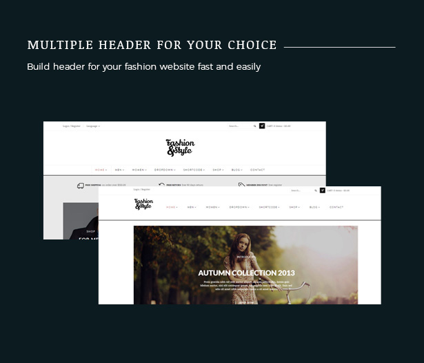 Multiple Header Fashion WooCommerce Responsive WordPress Theme