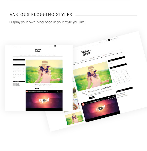 Various Blog Page Layouts Fashion WooCommerce WordPress Theme