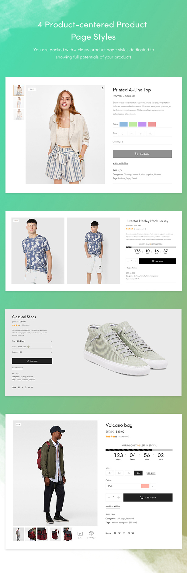 fashion theme for wordpress 2018 - product page style