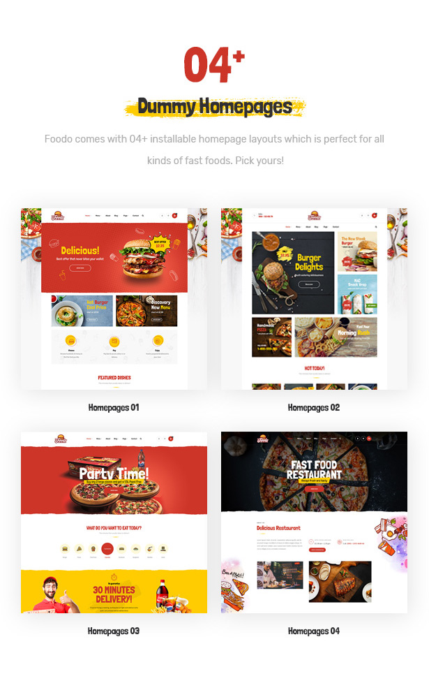 Foodo homepages- Fast Food Restaurant WordPress Theme