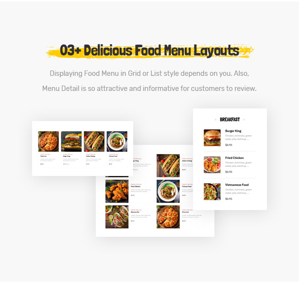 Foodo Menu Layouts- Fast Food Restaurant WordPress Theme