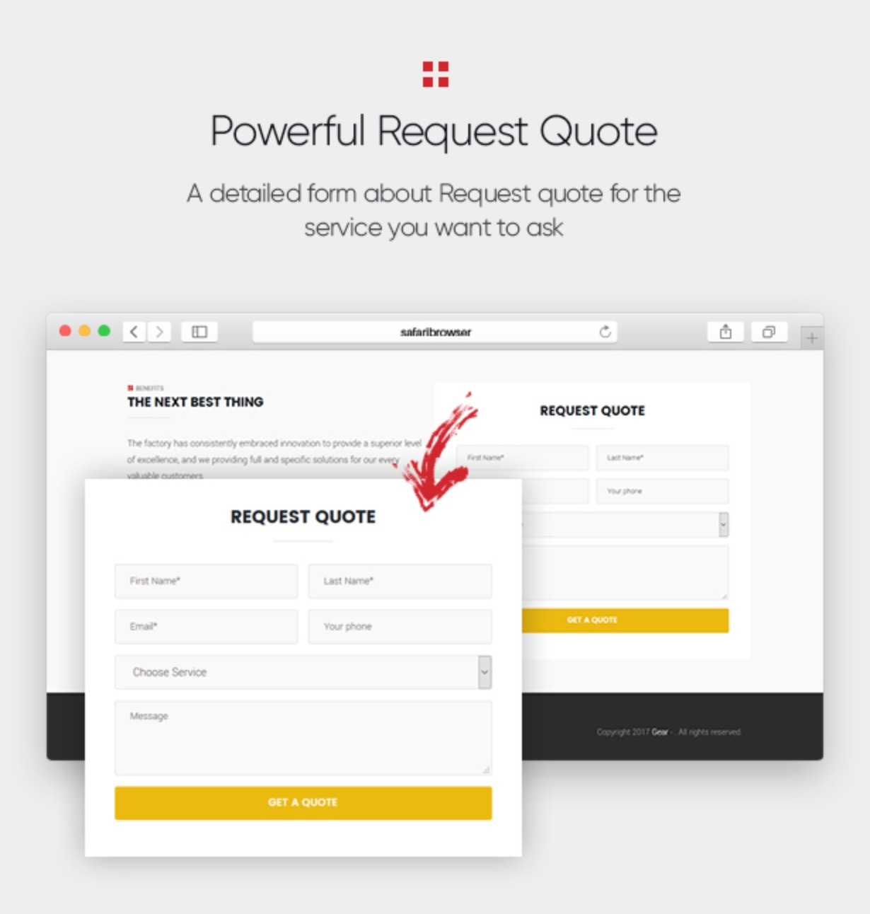 Gear - Factory and Industry Business WordPress Theme powerful request quote