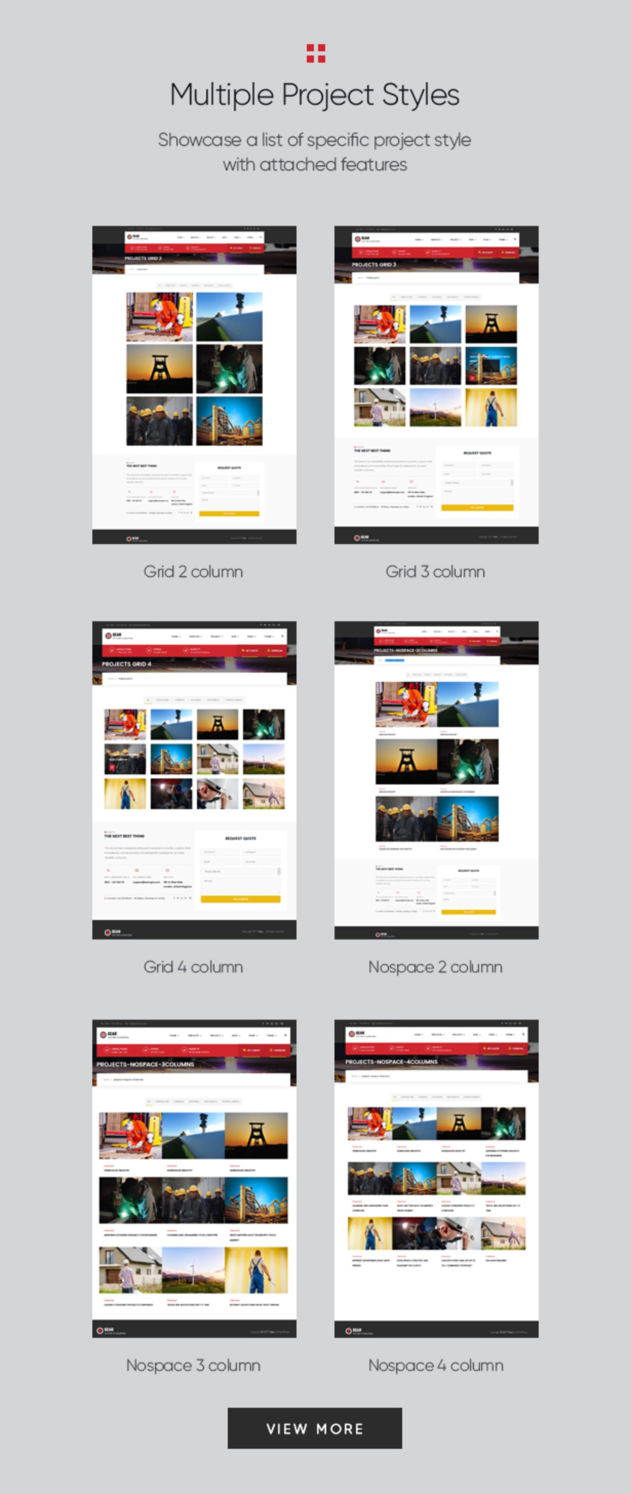 Gear - Factory and Industry Business WordPress Theme multiple projects layout