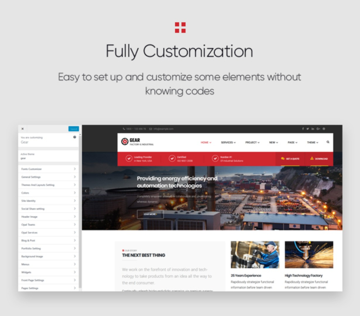 Gear - Factory and Industry Business WordPress Theme full customization