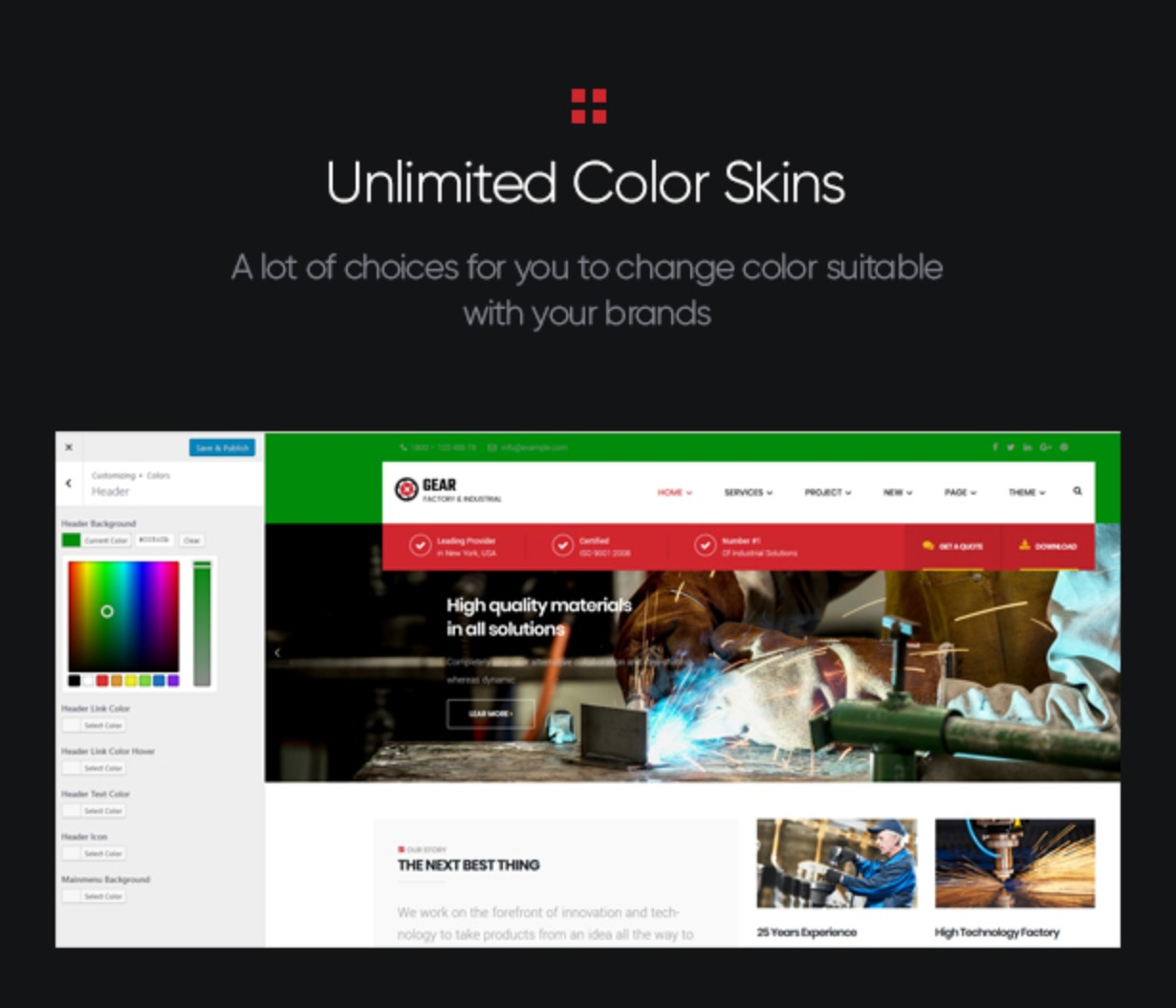 Gear - Factory and Industry Business WordPress Theme unlimited color styles