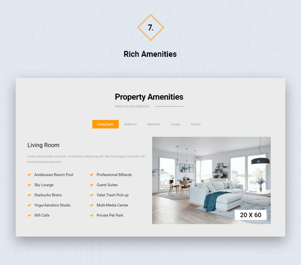 Property Amenities in HouseSang Single Property WordPress Theme