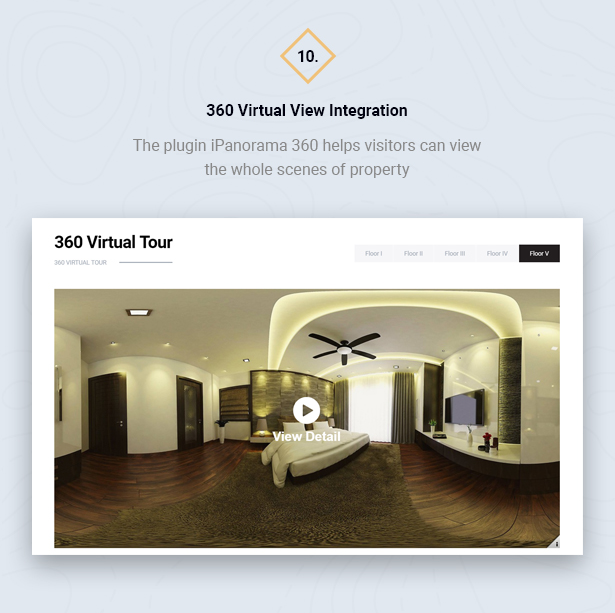 360 Virtual Tour in HouseSang Single Property WordPress Theme