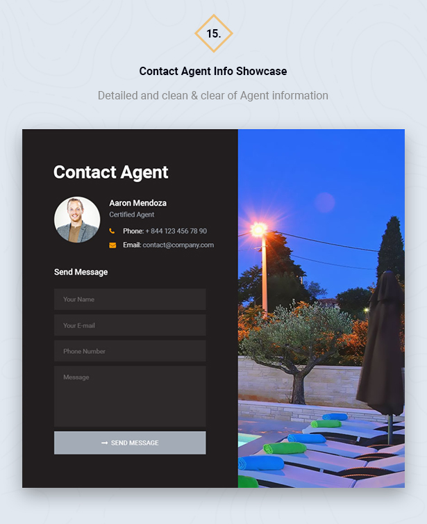 Show Contact Agent Info in HouseSang Single Property WordPress Theme