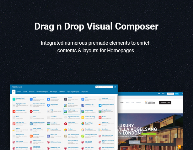 Drag & Drop Visual Composer in HouseSang Single Property WordPress Theme