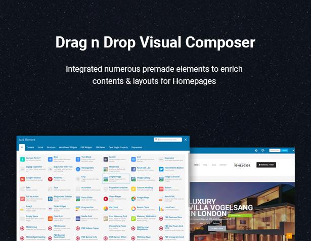 Drag & Drop Visual Composer in HouseSang Single Property WordPress Theme