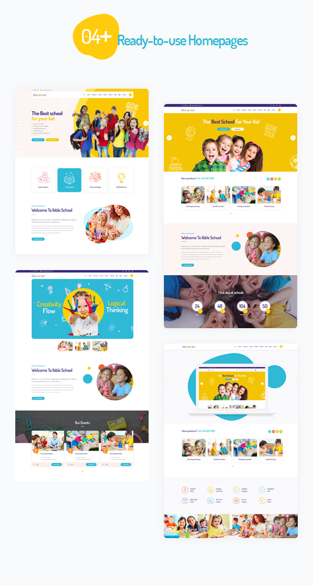04 premade homepages in Ibble Education WordPress Theme  Download Ibble – Creative Education WordPress Theme nulled 3