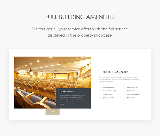 Building Amenities MaisonCo Single Property For Sale & Rent WordPress Theme