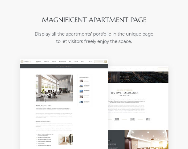 Magnificent Apartment Page in MaisonCo Single Property For Sale & Rent WordPress Theme