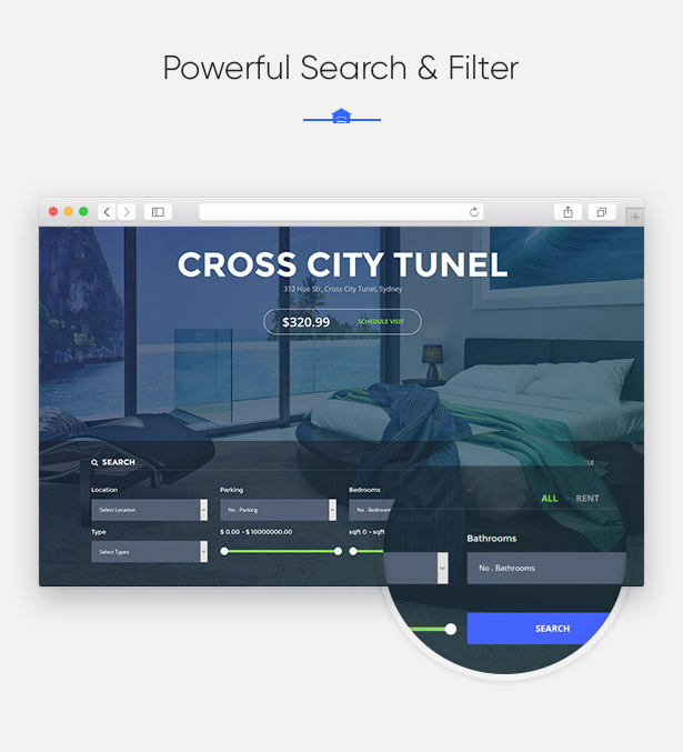Fast Search & Filter System in Parahouse Real Estate WordPress Theme