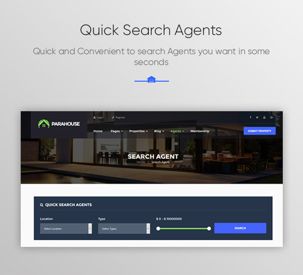 Quick Search Agents in Parahouse Real Estate WordPress Theme