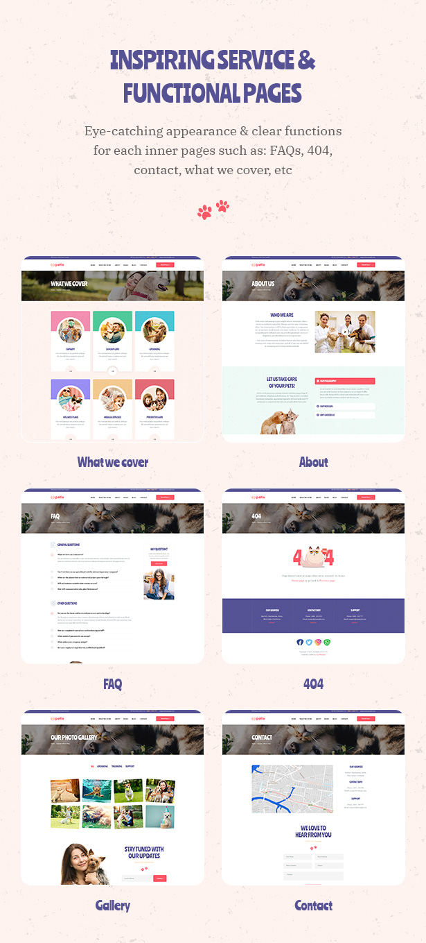 Petie - Pet Care Center & Veterinary WordPress Theme Inspiring Service and Functional Page