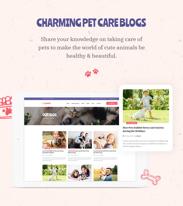 Petie - Pet Care Center & Veterinary WordPress Theme Charming Blog Pages