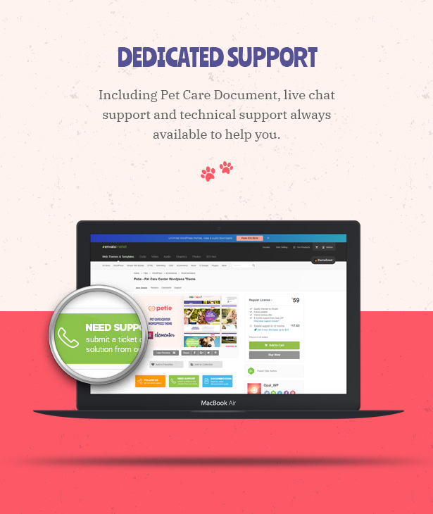 Petie - Pet Care Center & Veterinary WordPress Theme Great Support