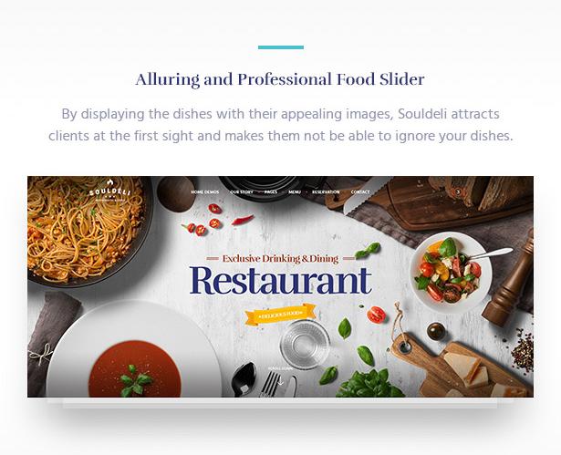 Amazing Food Slider Souldeli - Exquisite Restaurant & Cafe WordPress Theme