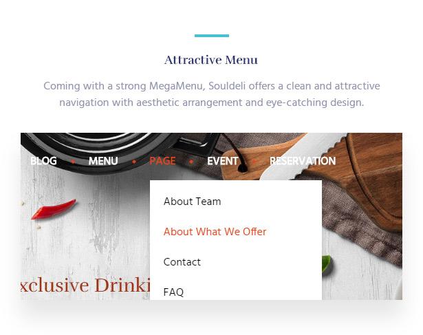 Great MegaMenu Souldeli - Exquisite Restaurant & Cafe WordPress Theme