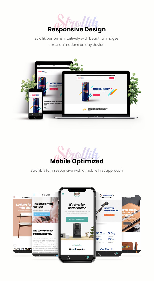 fully responsive Strollik single product WooCommerce WordPress theme